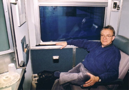 Author Peter Dawes in VIA train.